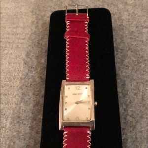 Nine West red leather watch